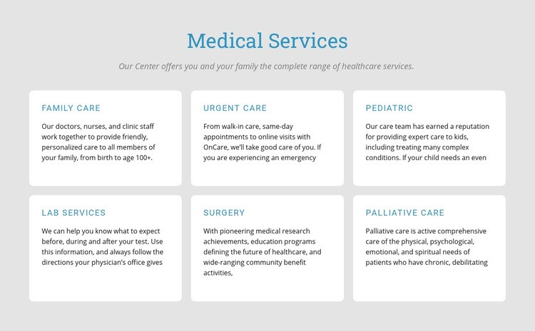 Explore our medical services Html Code Example