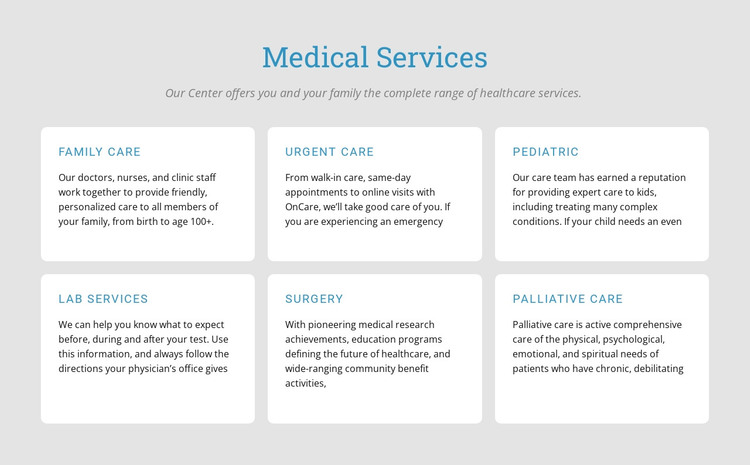 Explore our medical services HTML Template