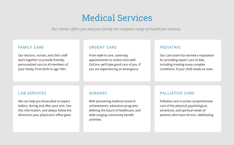 Explore our medical services One Page Template
