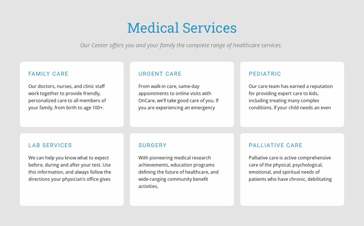 Explore our medical services Landing Page