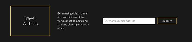 Travel Company contact information Website Mockup