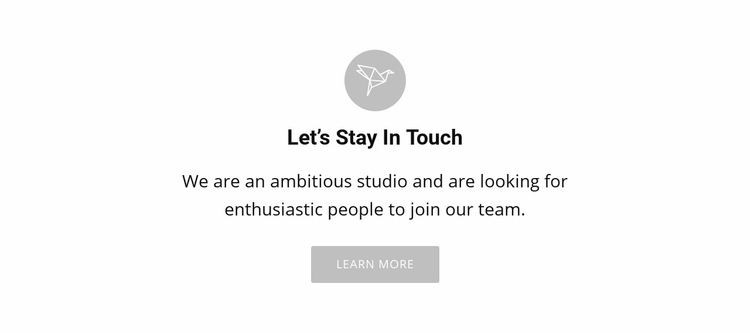 Lets stay touch Web Page Design