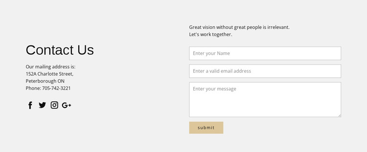 Contact information and contact form Web Design