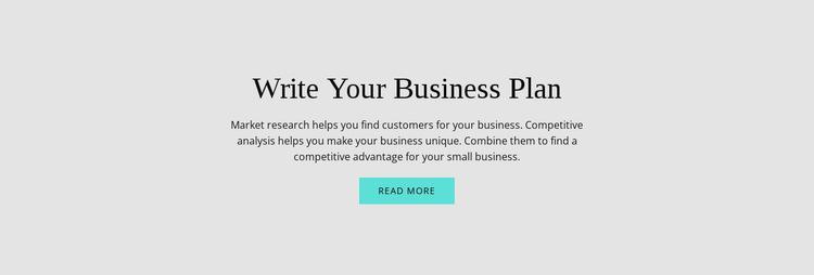 Text about business plan Website Builder