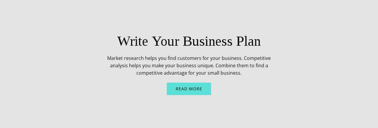 Text about business plan Website Mockup