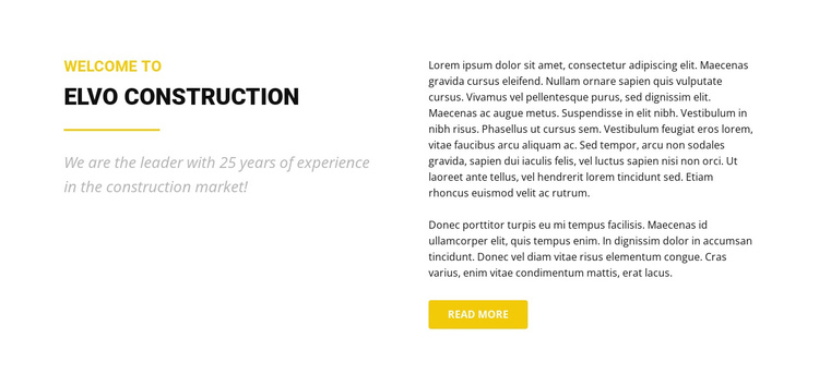 Elvo construction One Page Template