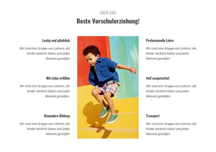 Arten von Vorschule Website-Vorlage