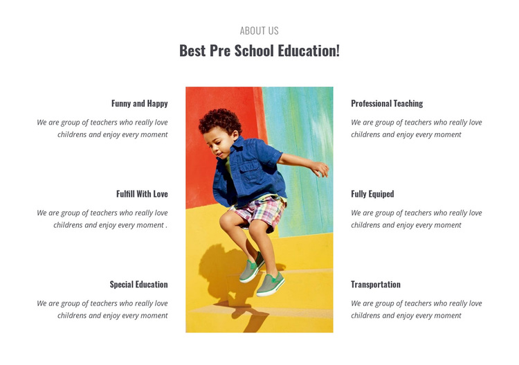 Types of preschool Joomla Page Builder