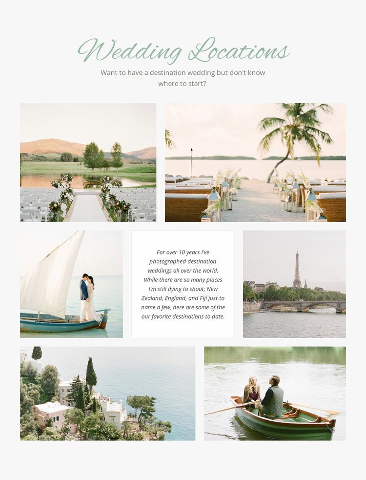 Wedding Locations Website Mockup