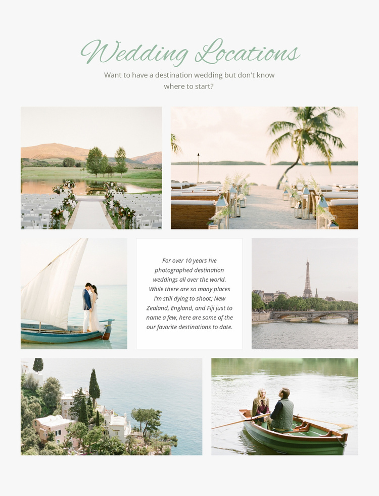 Wedding Locations Website Template