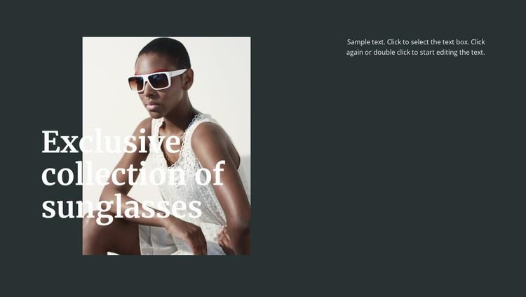 Different sunglasses Web Page Designer