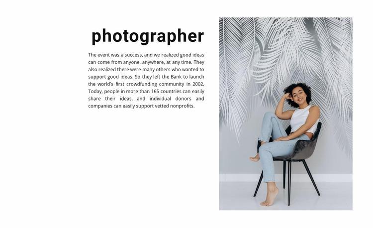 Studio photography lessons Website Mockup