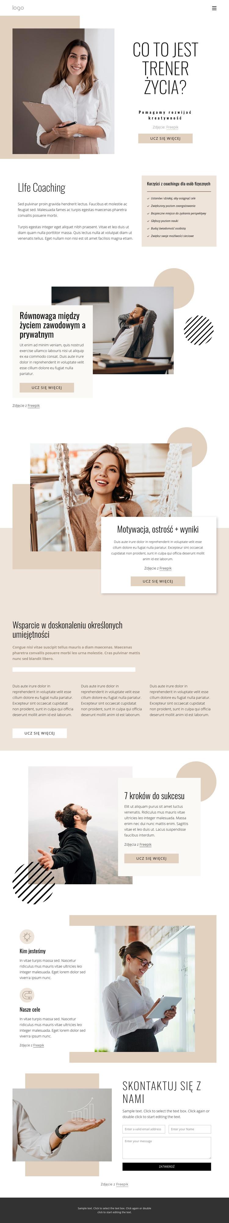 Coaching życiowy i biznesowy Szablon witryny sieci Web
