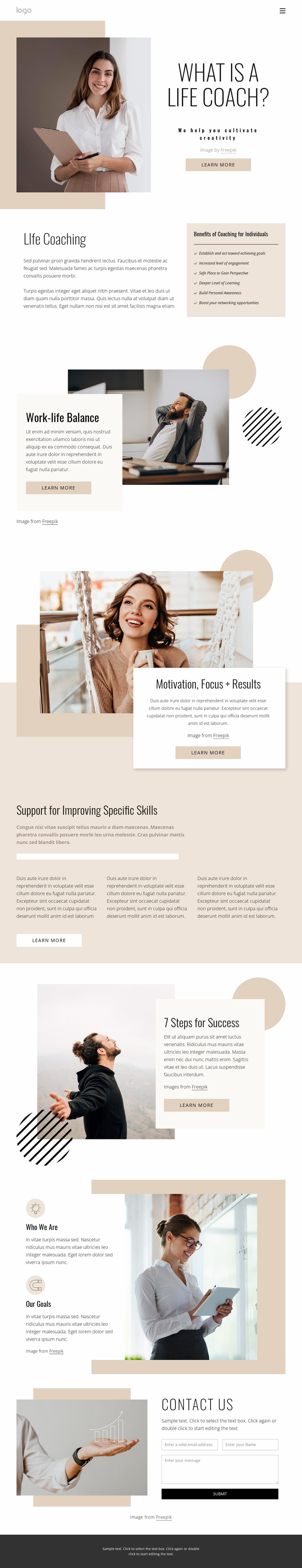 Life and business coaching Website Mockup