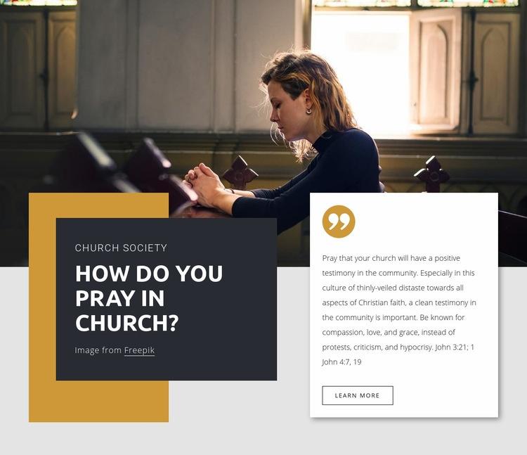 Pray in church Web Page Design