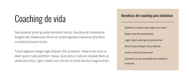 Texto y lista sobre fondo de color Plantilla de sitio web