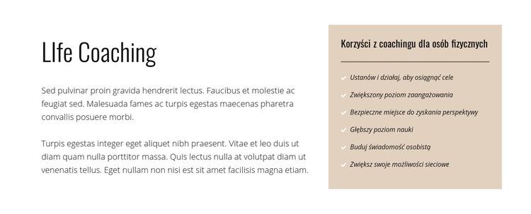 Tekst i lista na kolorowym tle Szablon witryny sieci Web