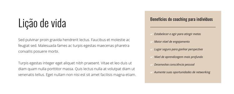 Texto e lista em fundo colorido Modelo de site