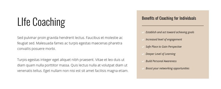 Text and list on colored background Web Page Design