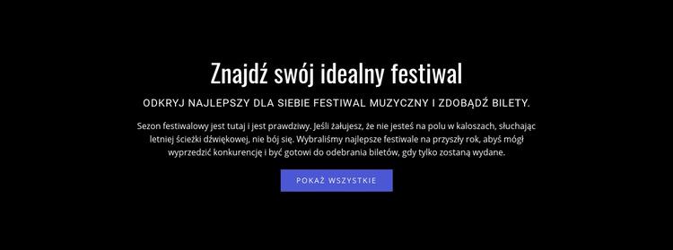 Tekst o festiwalu Szablon witryny sieci Web
