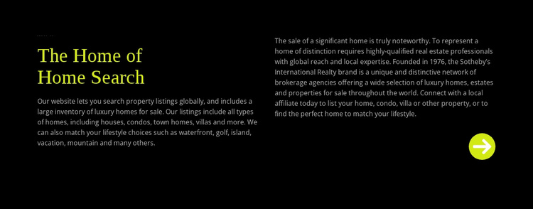 Text about home search Landing Page