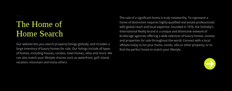 Text about home search WordPress Template