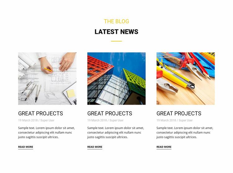 Blog latest news Website Builder Templates