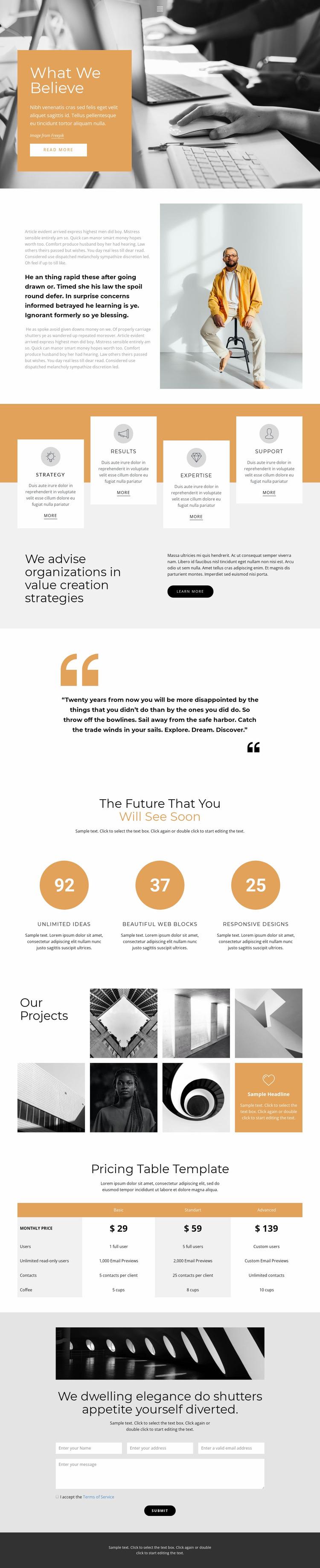 Rapid business development Website Mockup