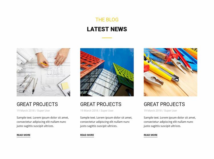 Blog latest news Landing Page