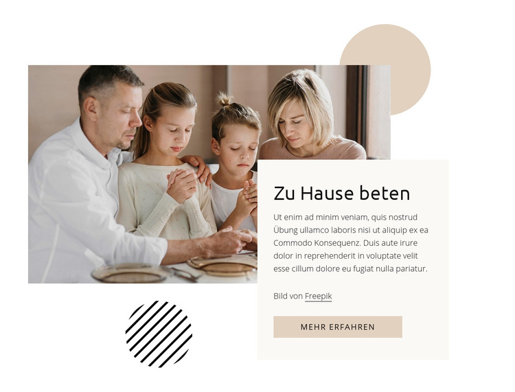 Zu Hause beten Website-Vorlage