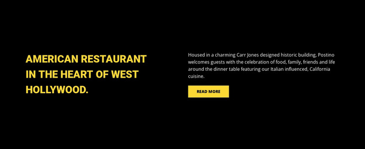 American restaurant Web Design
