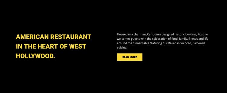 American restaurant Landing Page
