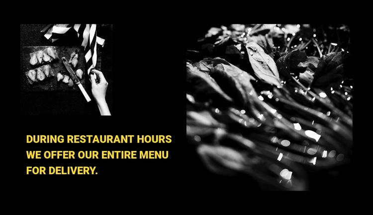 Restaurant menu Website Template