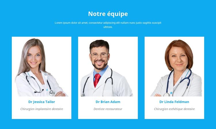 Notre équipe médicale Modèle de site Web
