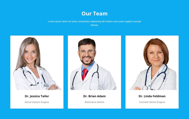 Our Medical Team Web Page Design