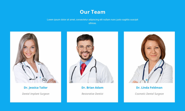 Our Medical Team Website Mockup
