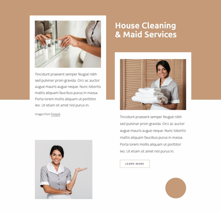 Maid services and house cleaning Website Mockup
