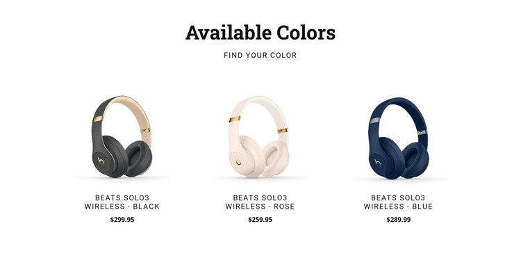 Headphones in different colors CSS Template