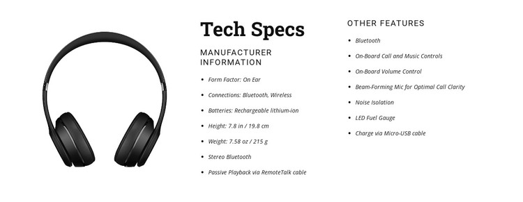 Tech specs WordPress Theme