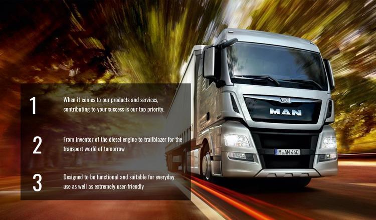 Efficient truck logistics HTML Template