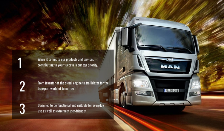 Efficient truck logistics Website Builder Software