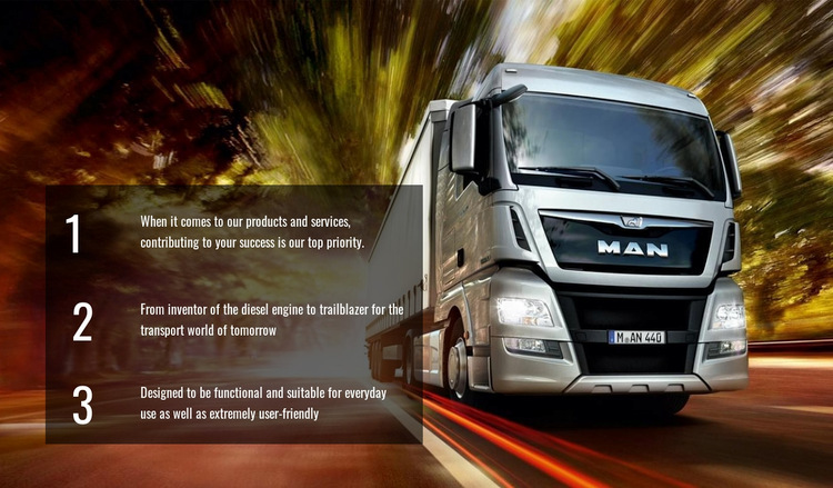 Efficient truck logistics WordPress Website