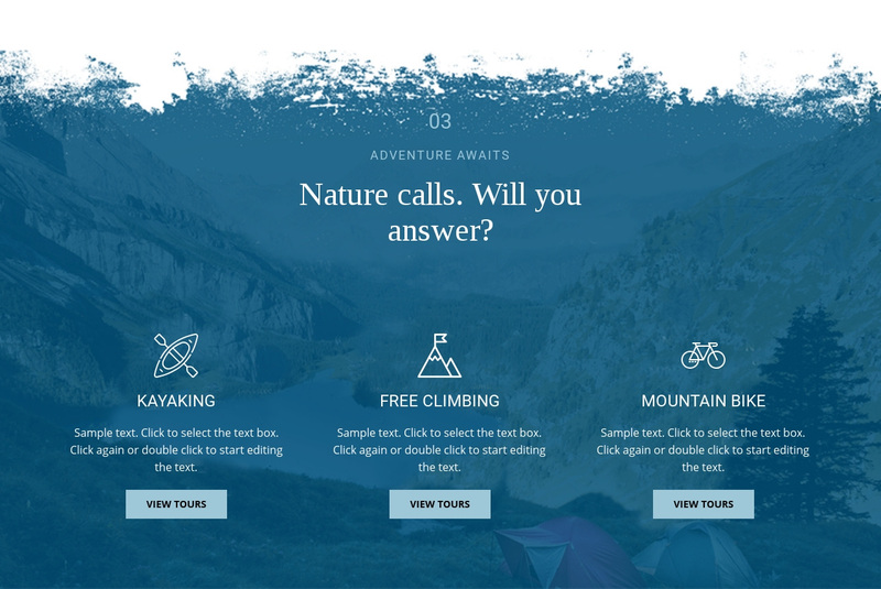 Nature calling Web Page Design