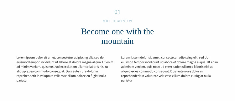 Text about mountain Website Design