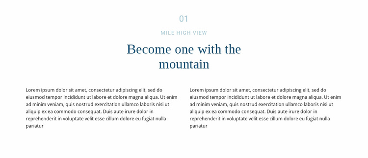 Text about mountain Landing Page