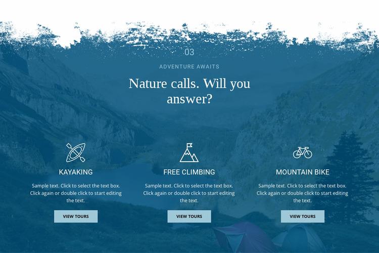 Nature calling WordPress Website Builder