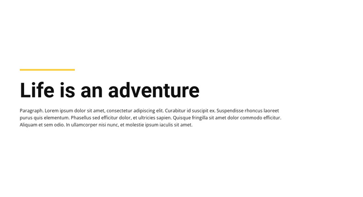 Plain Text life adventure One Page Template