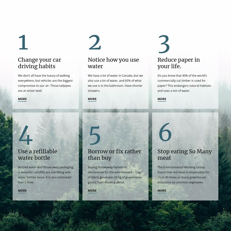 6 good green habits CSS Template
