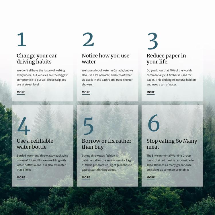 6 good green habits HTML Template