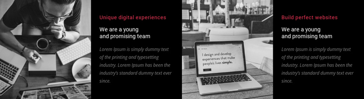 We are a young and promising team One Page Template